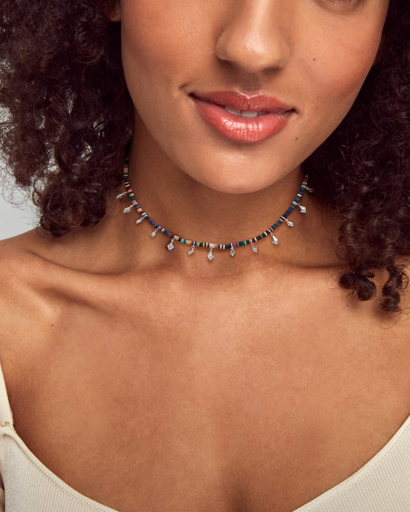 Reece Bright Silver Choker Necklace in Neutral Mix