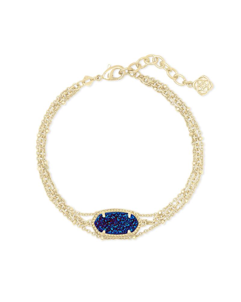 Elaina Gold Multi Strand Bracelet in Indigo Blue Drusy