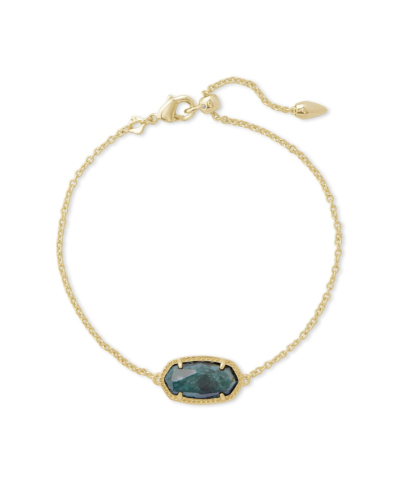 Elaina Gold Single Slide Bracelet in Green Apatite