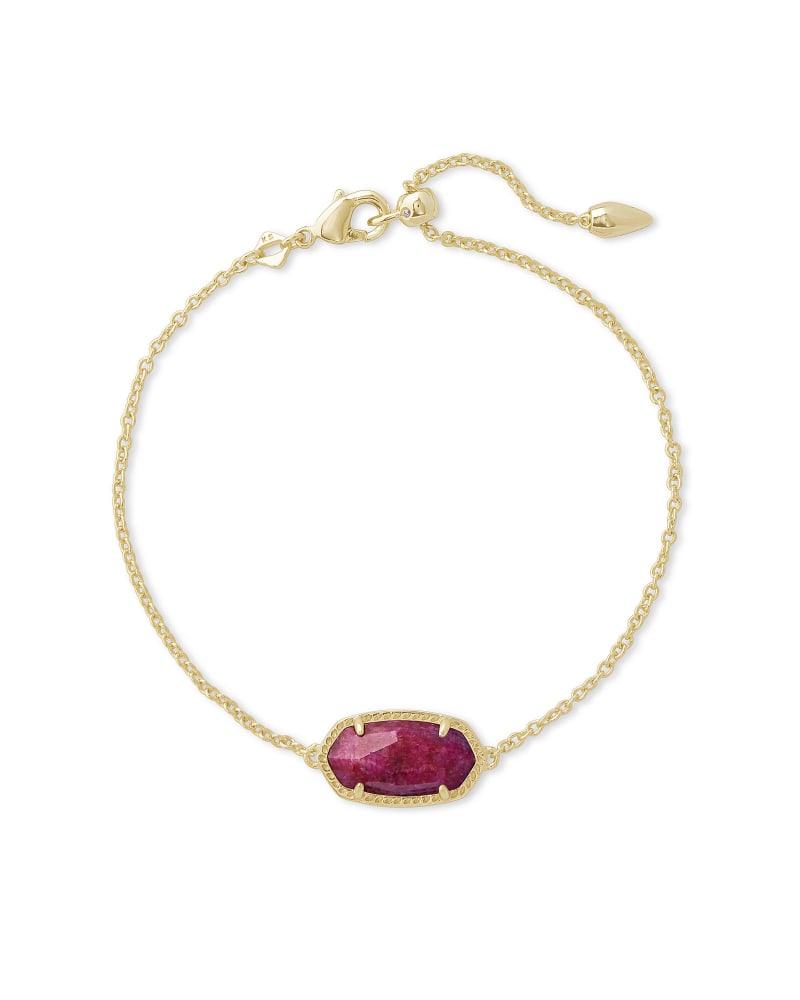 Elaina Gold Single Slide Bracelet in Raspberry Labradorite