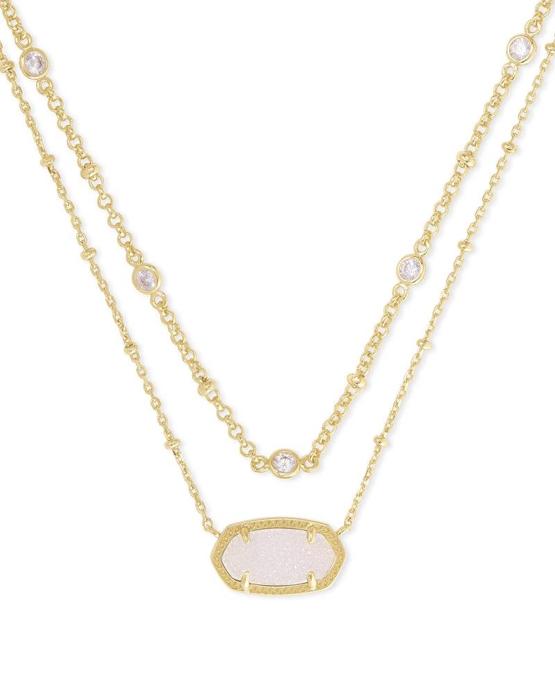 Elisa Gold Multi Strand Necklace in Iridescent Drusy   Kendra Scott