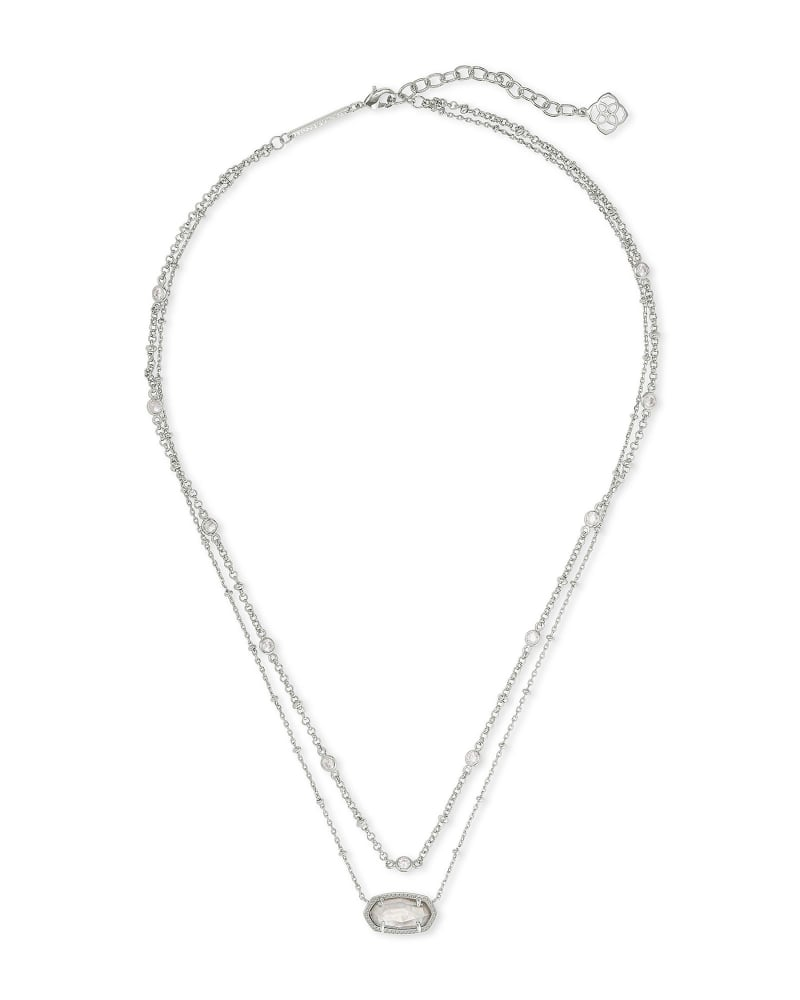 Elisa Silver Multi Strand Necklace in Gray Illusion