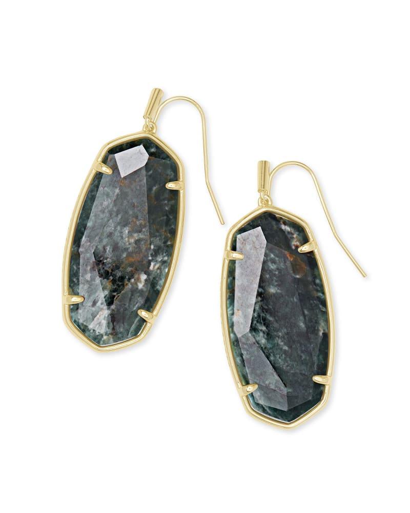 Faceted Elle Gold Drop Earrings in Green Apatite   Kendra Scott
