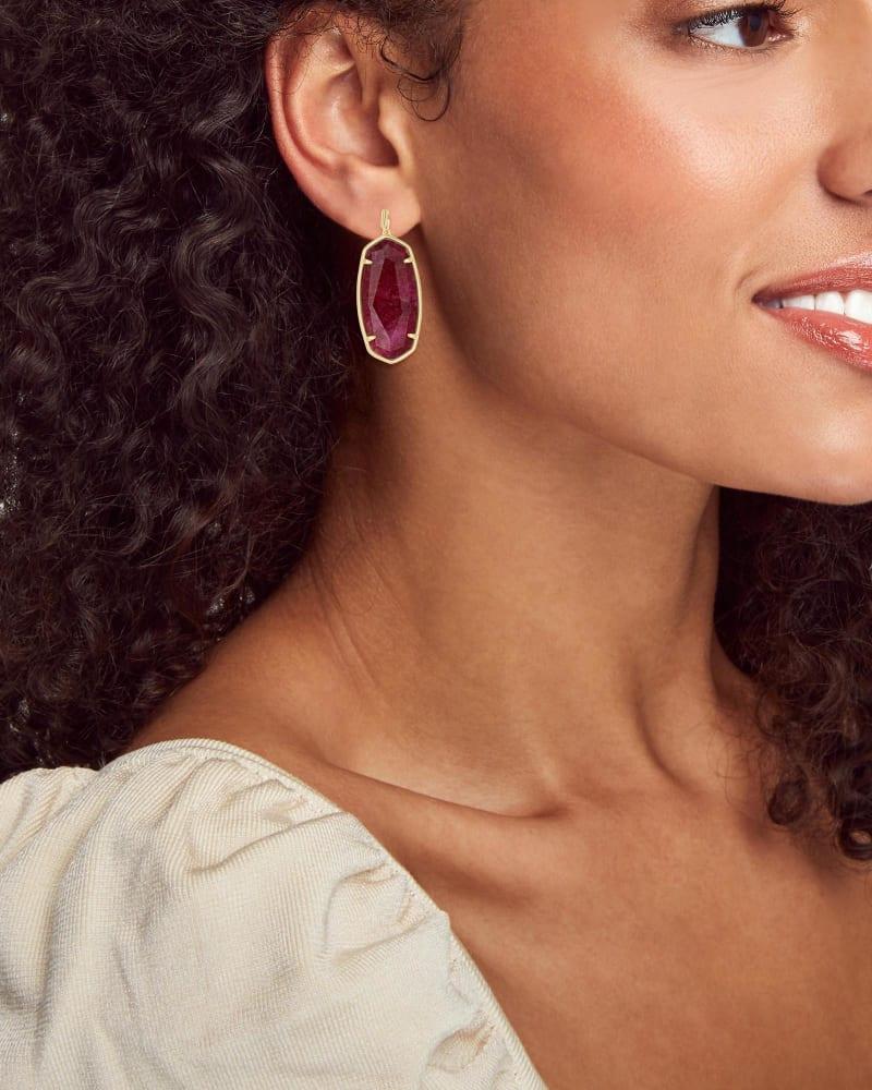 Faceted Elle Gold Drop Earrings in Raspberry Labradorite