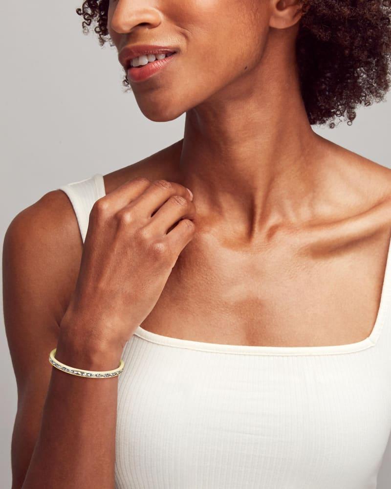 Jack Gold Cuff Bracelet in White Crystal