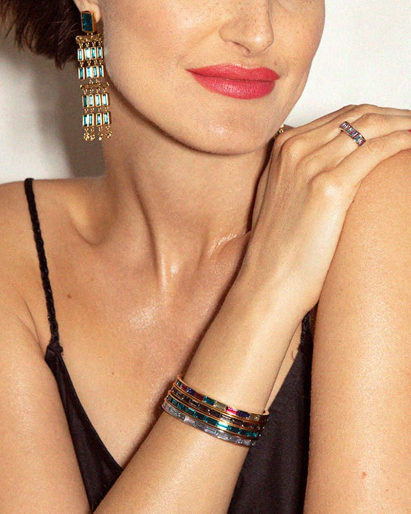 Jack Silver Cuff Bracelet in Charcoal Gray Crystal