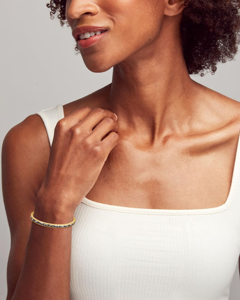 Jack Vintage Gold Cuff Bracelet in Charcoal Gray Crystal