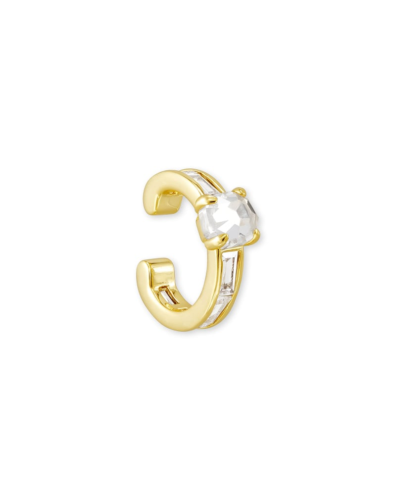 Jack Gold Ear Cuff in White Crystal