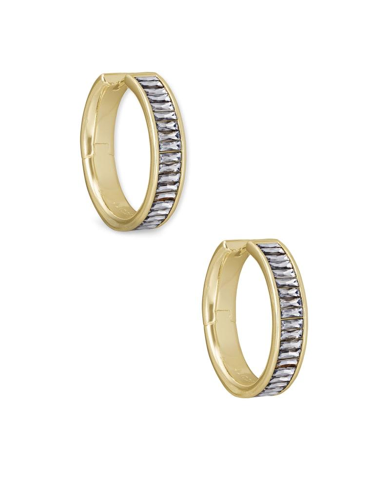 Jack Gold Hoop Earrings in White Crystal | Kendra Scott