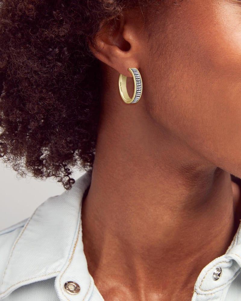 Jack Gold Hoop Earrings in White Crystal
