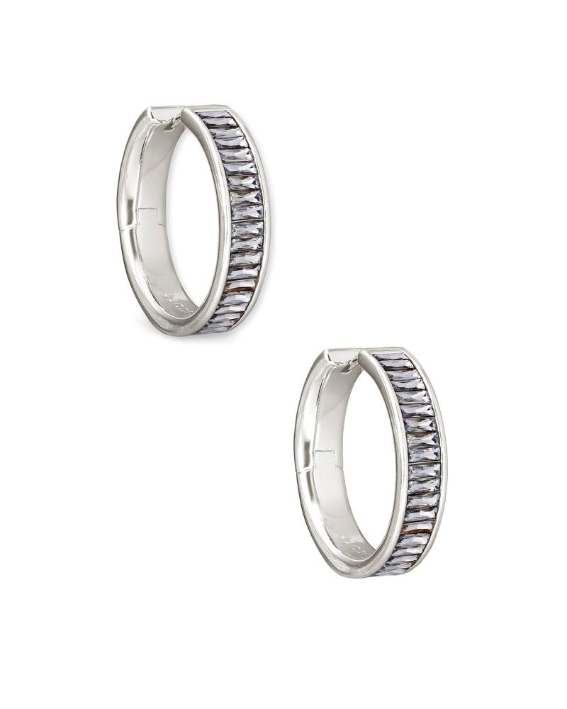 Jack Silver Hoop Earrings in Charcoal Gray Crystal