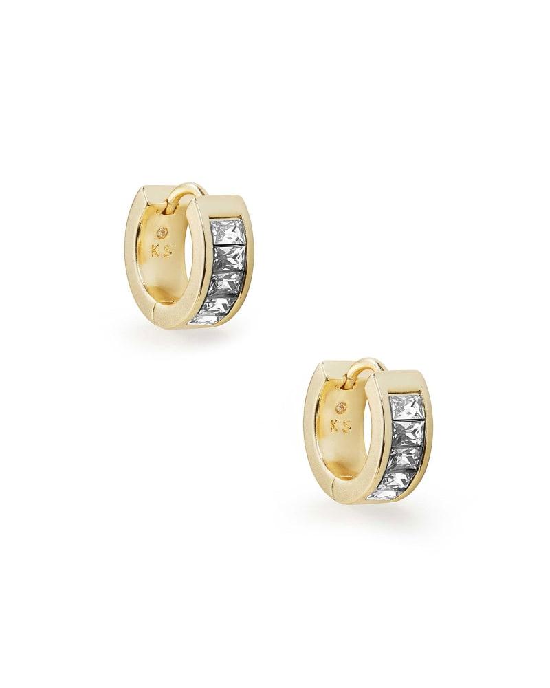 Jack Gold Huggie Earrings in White Crystal