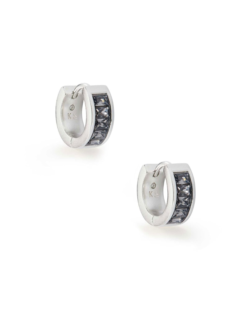 Jack Silver Huggie Earrings in Charcoal Gray Crystal