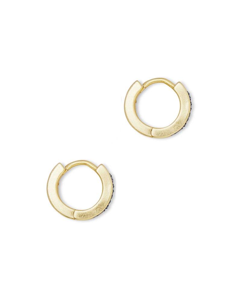 Jack Gold Huggie Earrings in Multi Crystal