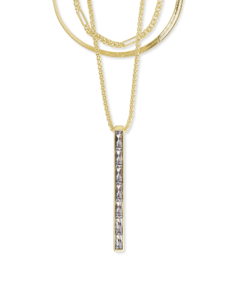 Jack Gold Multi Strand Necklace in White Crystal