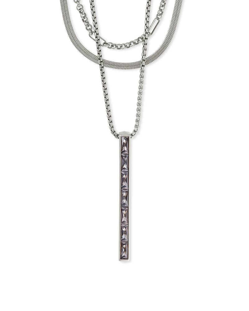 Jack Silver Multi Strand Necklace in Charcoal Gray Crystal