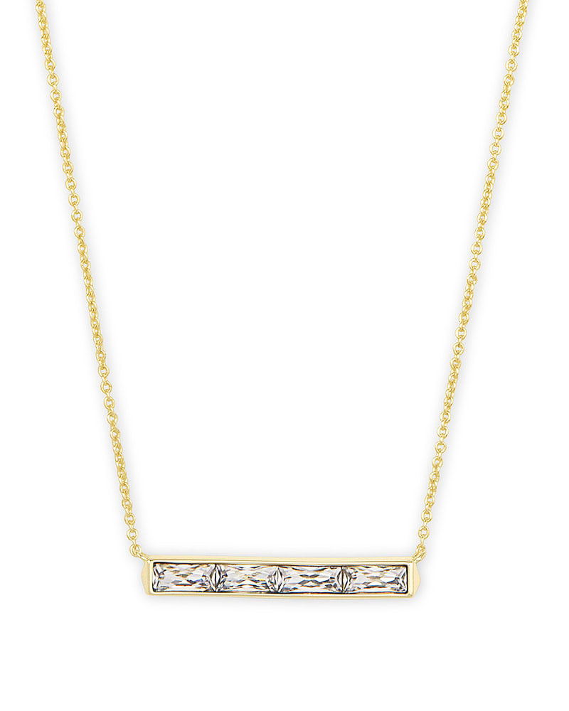 Jack Gold Pendant Necklace in White Crystal