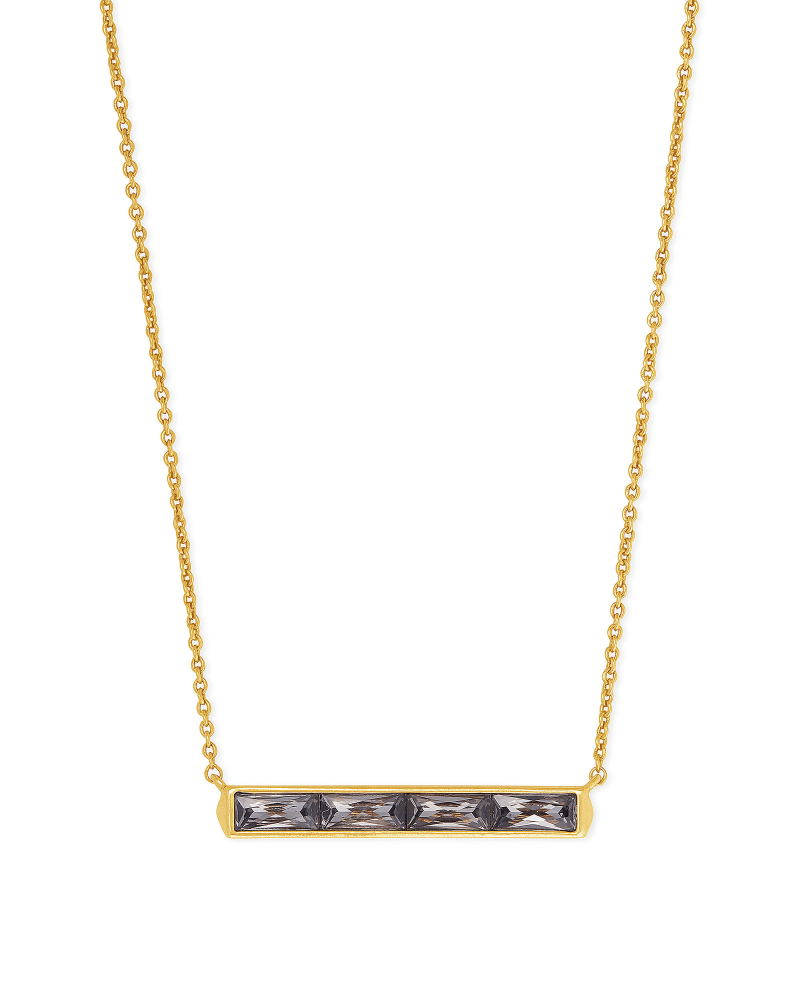 Jack Vintage Gold Pendant Necklace in Charcoal Gray Crystal