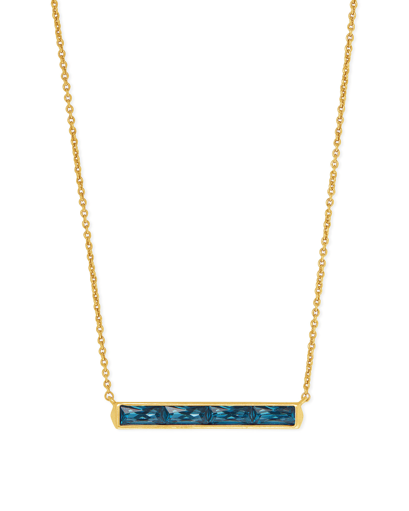 Jack Vintage Gold Pendant Necklace in Teal Crystal
