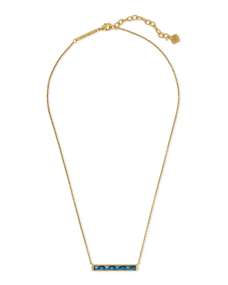 Jack Vintage Gold Pendant Necklace in Teal Crystal