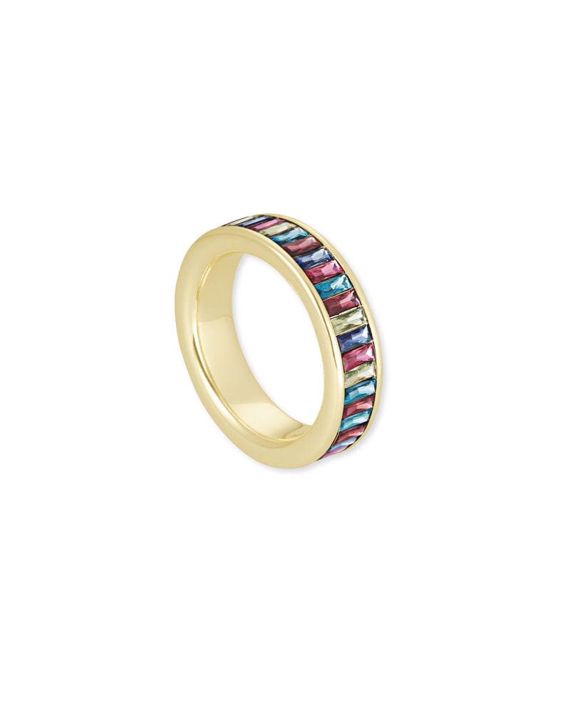 Jack Gold Band Ring in Multi Crystal