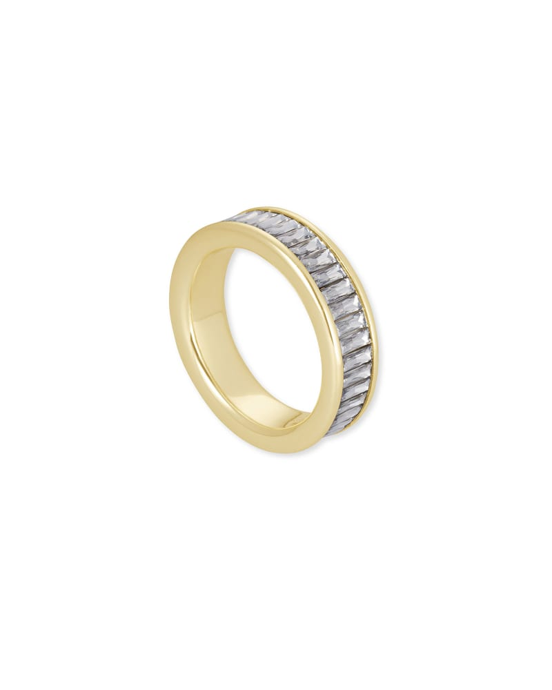 Jack Gold Band Ring in White Crystal