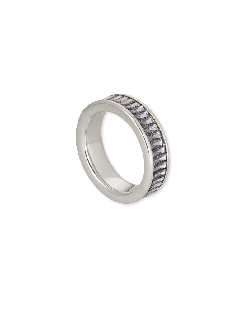 Jack Silver Band Ring in Charcoal Gray Crystal