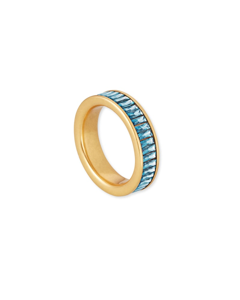 Jack Vintage Gold Band Ring in Teal Crystal