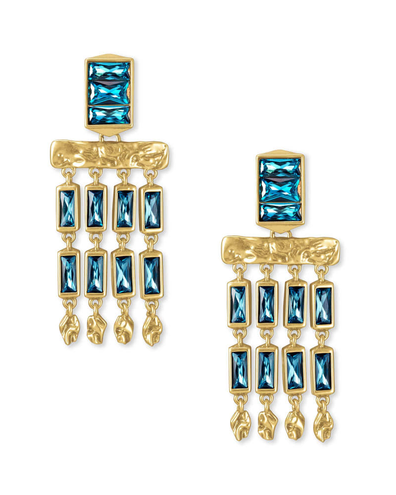 Jack Vintage Gold Small Statement Earrings in Teal Crystal