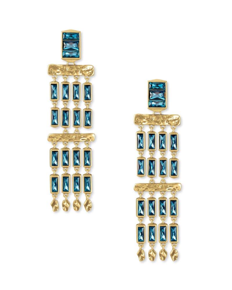 Jack Vintage Gold Statement Earrings in Teal Crystal