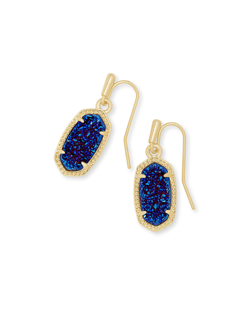 Lee Gold Drop Earrings in Indigo Blue Drusy