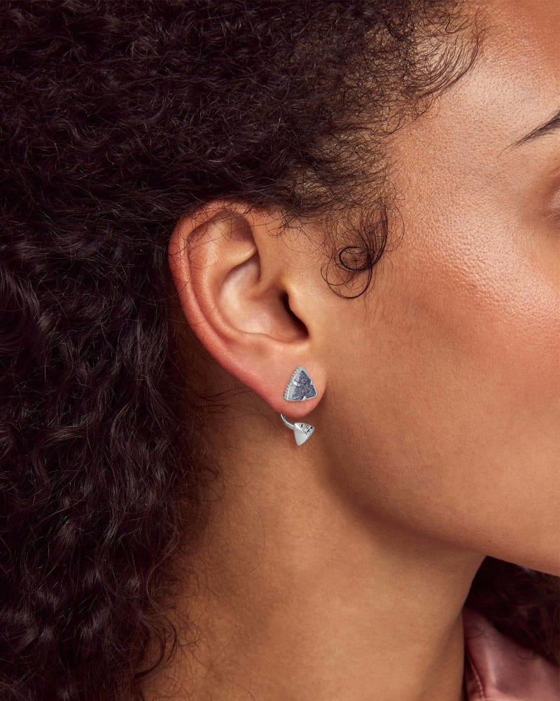 Perry Silver Ear Jacket Earrings in Steel Gray Drusy