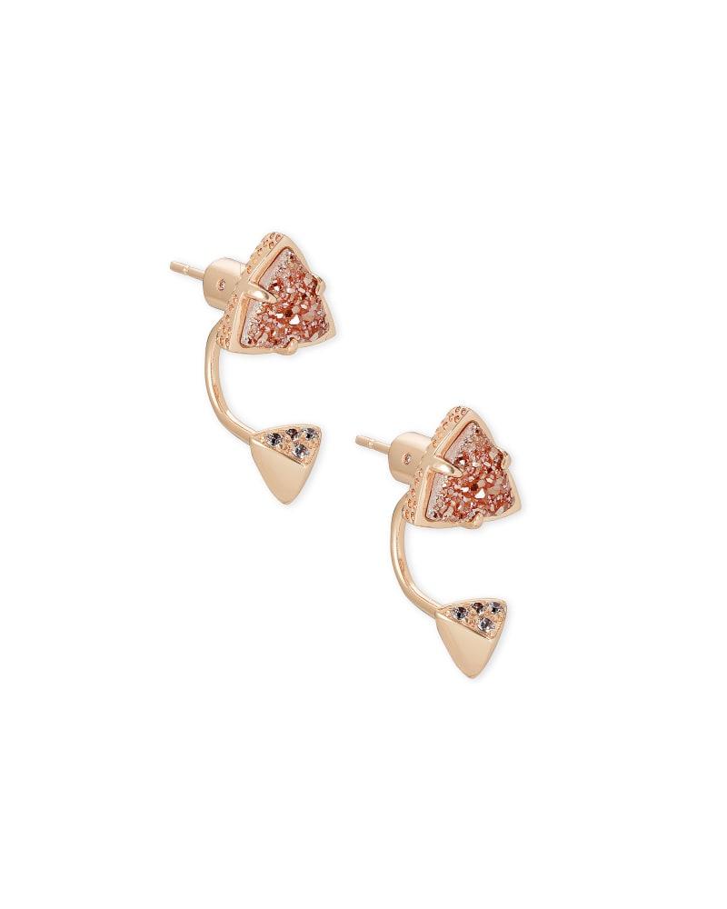 Perry Rose Gold Ear Jacket Earrings in Sand Drusy