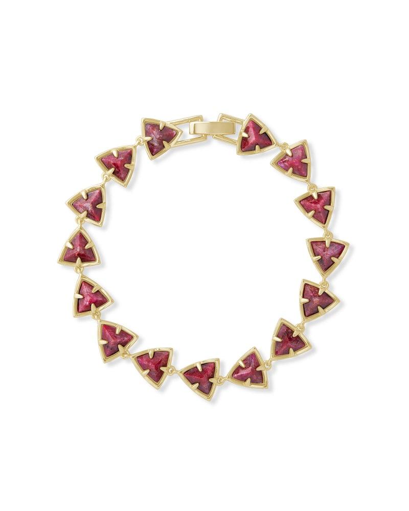 Perry Gold Link Bracelet in Raspberry Labradorite