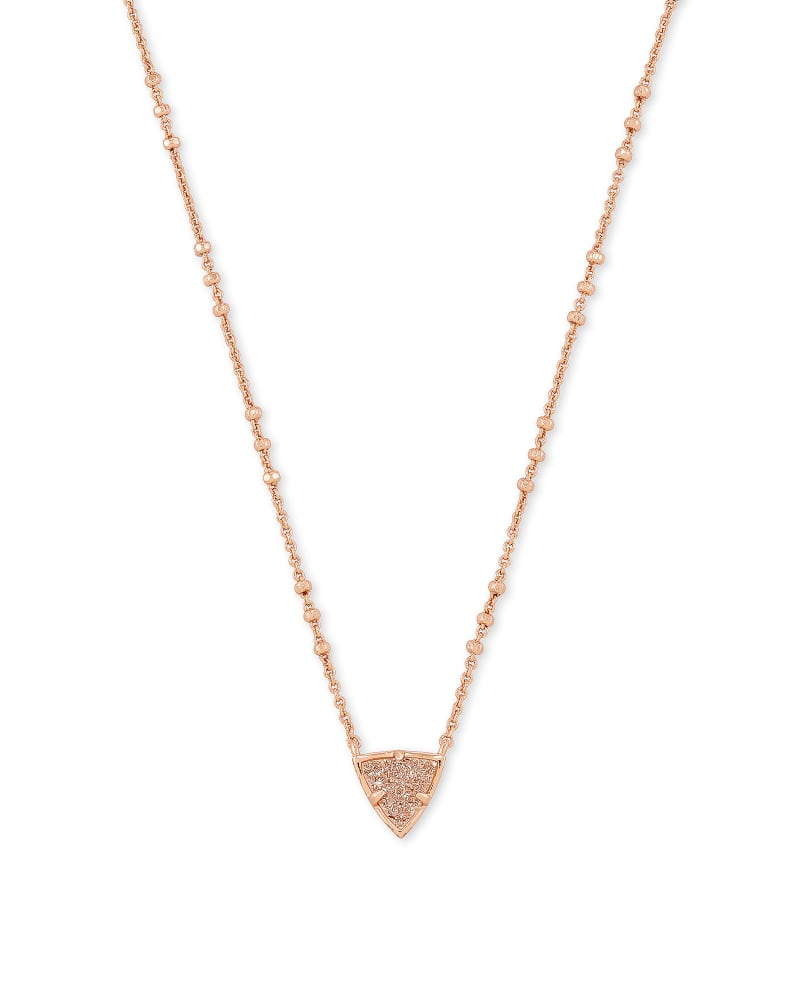 Perry Rose Gold Pendant Necklace in Sand Drusy