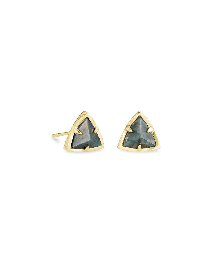 Perry Gold Stud Earrings in Green Apatite