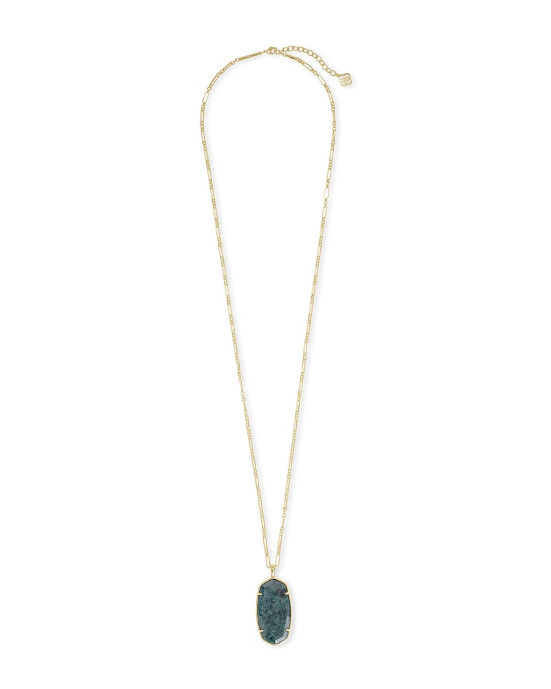Faceted Reid Gold Long Pendant Necklace in Green Apatite