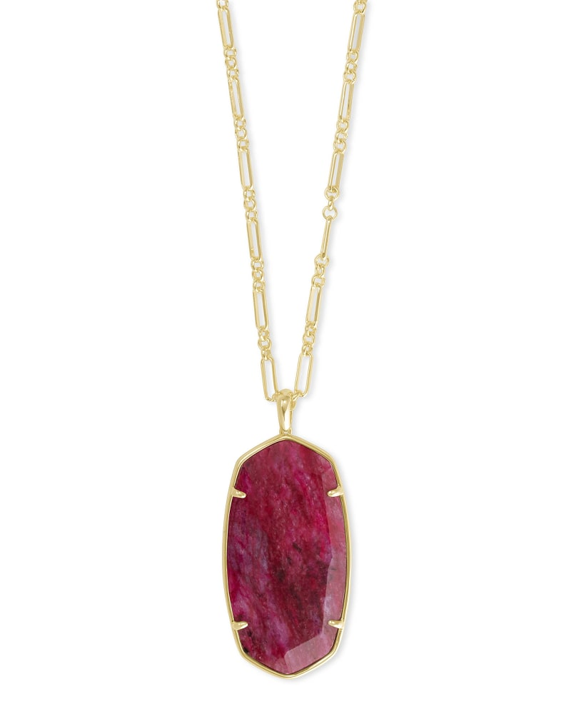 Faceted Reid Gold Long Pendant Necklace in Raspberry Labradorite