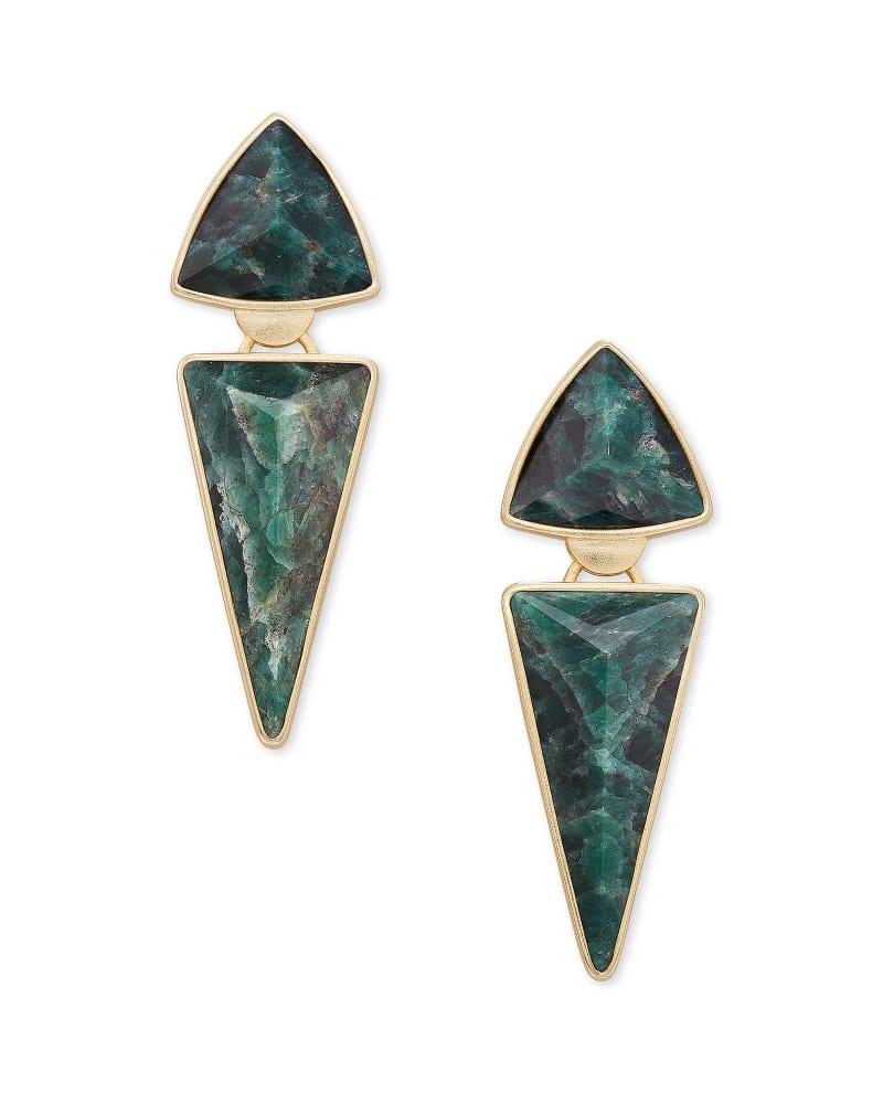 Vivian Gold Statement Earrings in Green Apatite