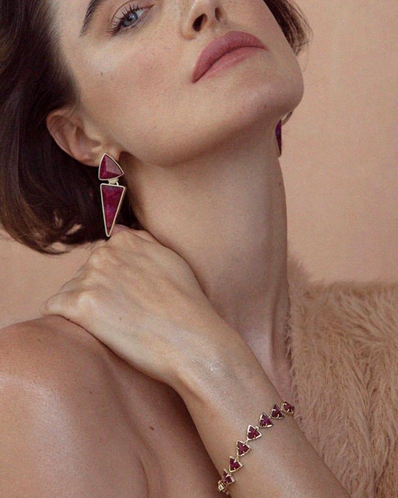 Vivian Gold Statement Earrings in Raspberry Labradorite