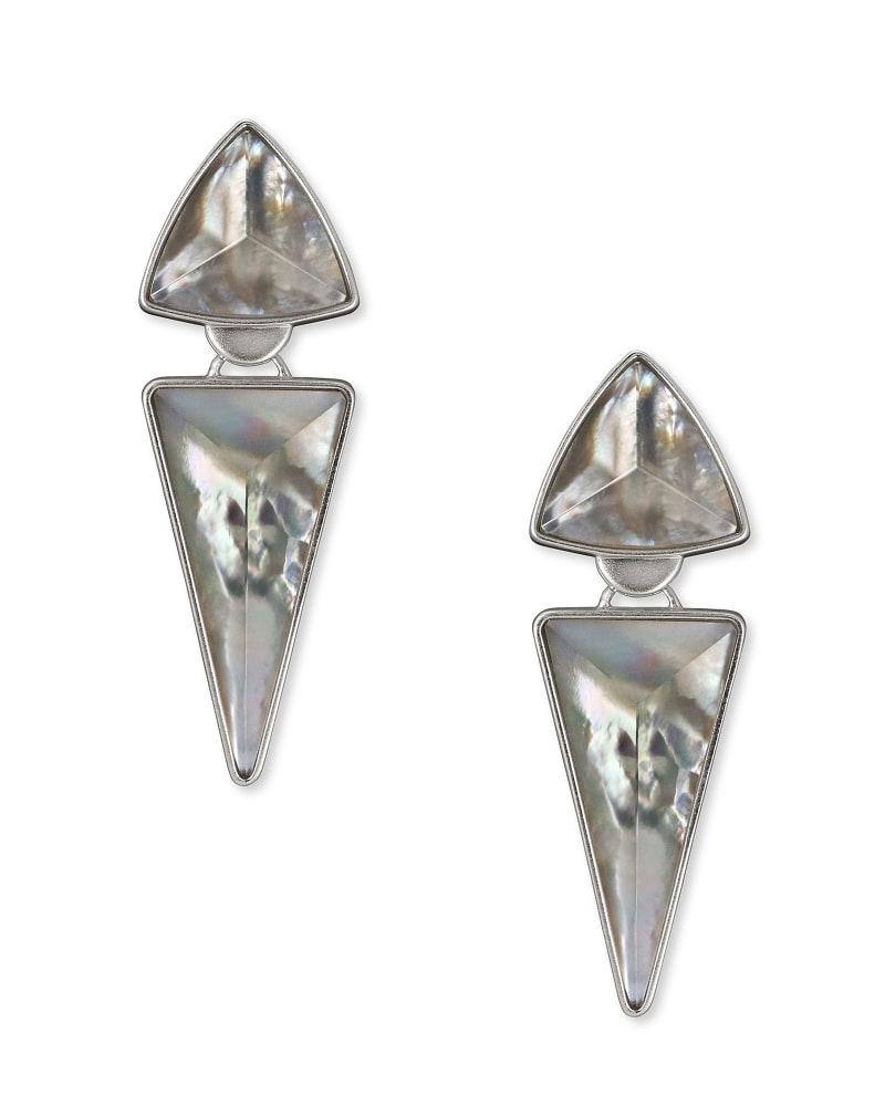 Vivian Silver Statement Earrings in Gray Illusion