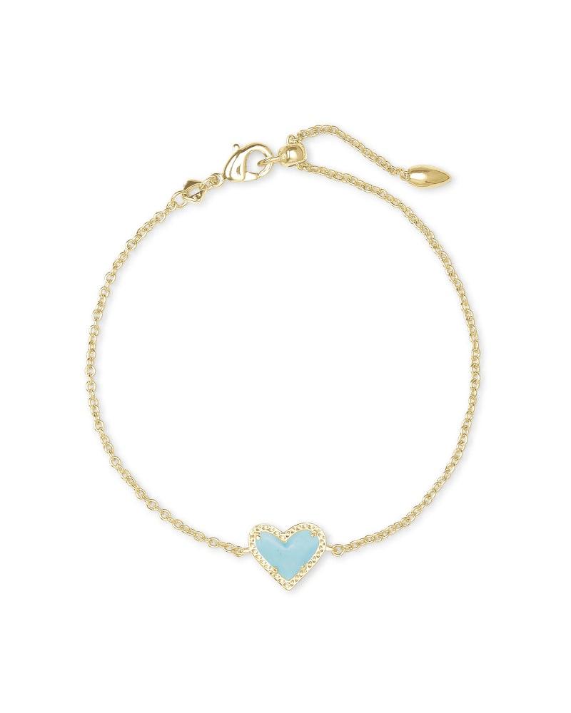 Ari Heart Gold Chain Bracelet in Light Blue Magnesite