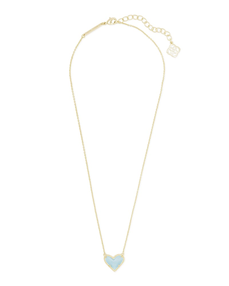 Ari Heart Gold Pendant Necklace in Light Blue Magnesite