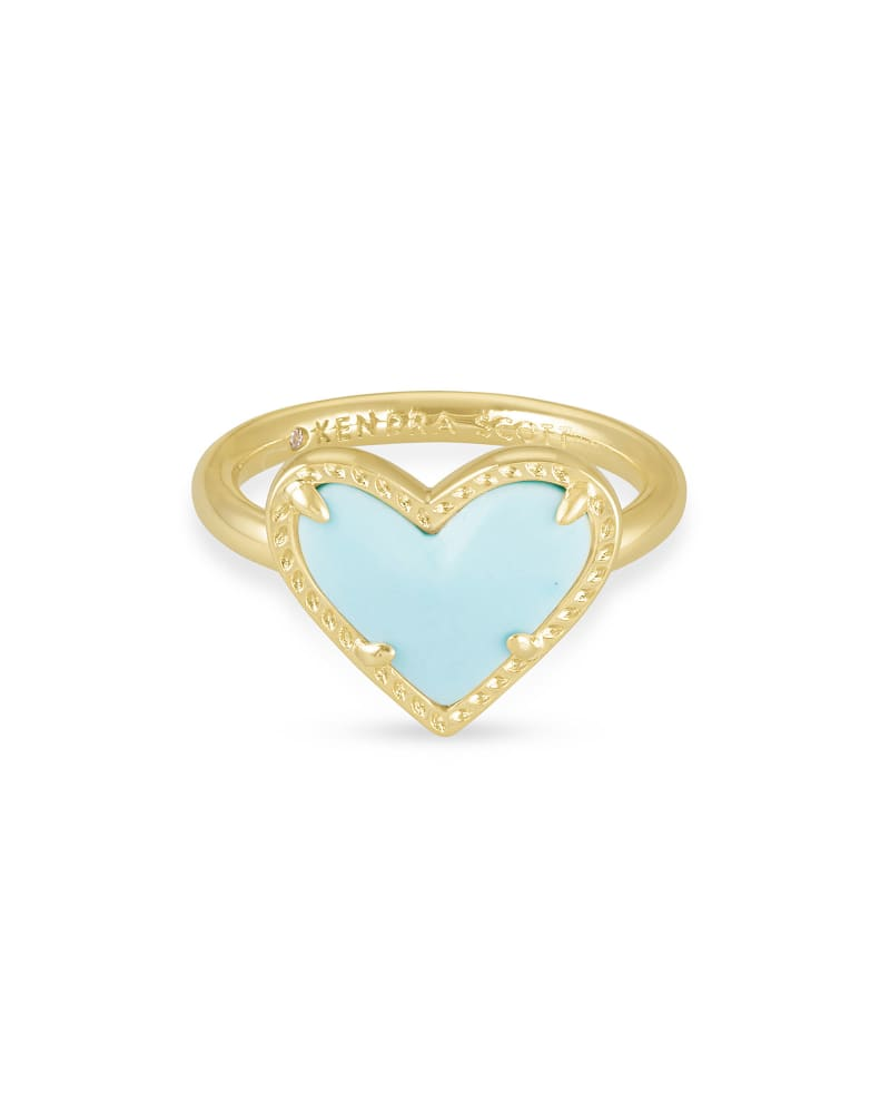 Ari Heart Gold Band Ring in Light Blue Magnesite