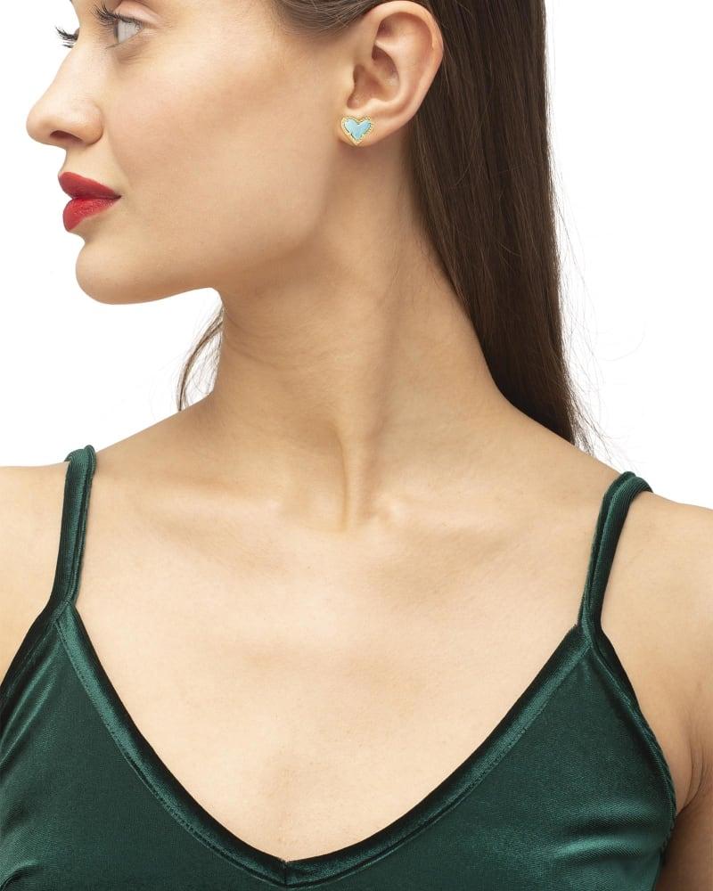 Ari Heart Gold Stud Earrings in Light Blue Magnesite