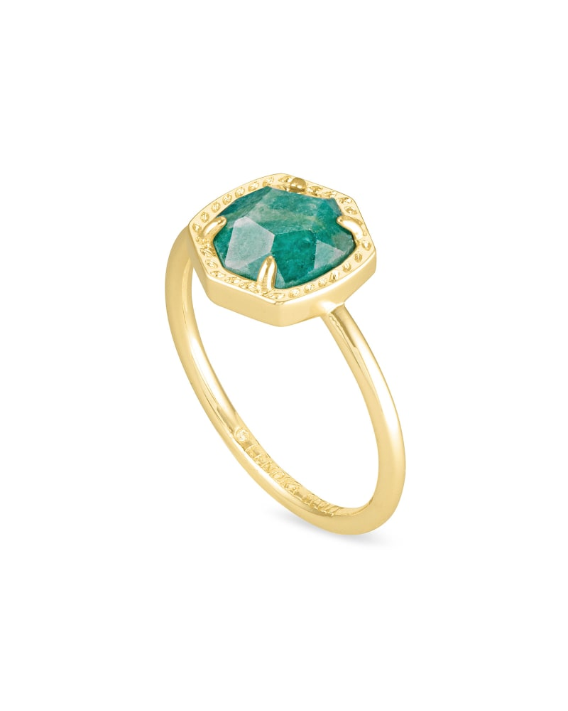 Davie Gold Band Ring in Dark Teal Amazonite