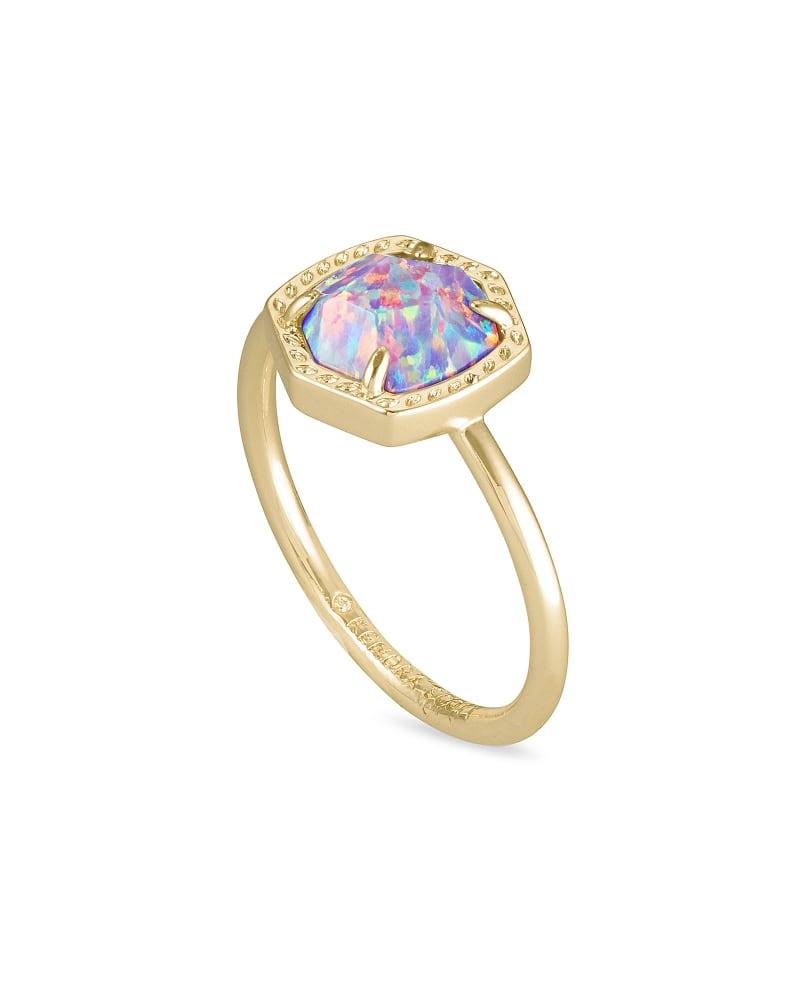 Davie Gold Band Ring in Lavender Kyocera Opal
