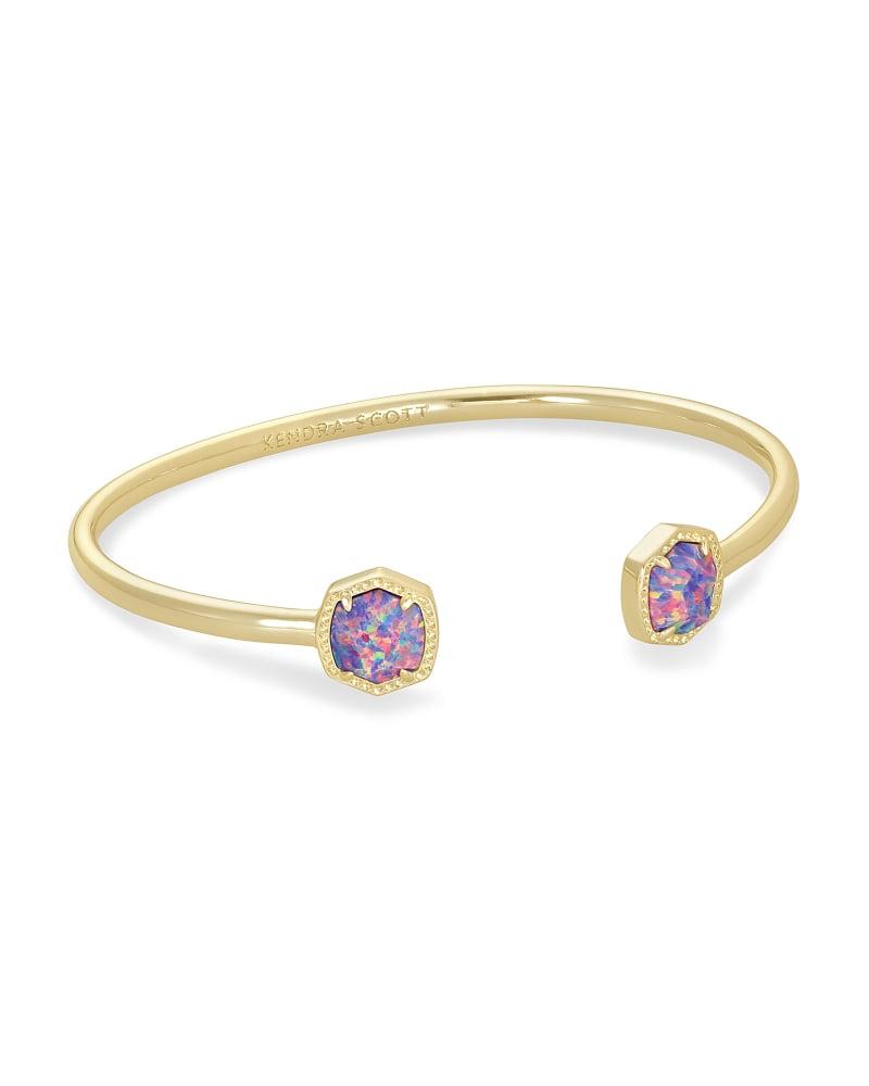Davie Gold Cuff Bracelet in Lavender Kyocera Opal