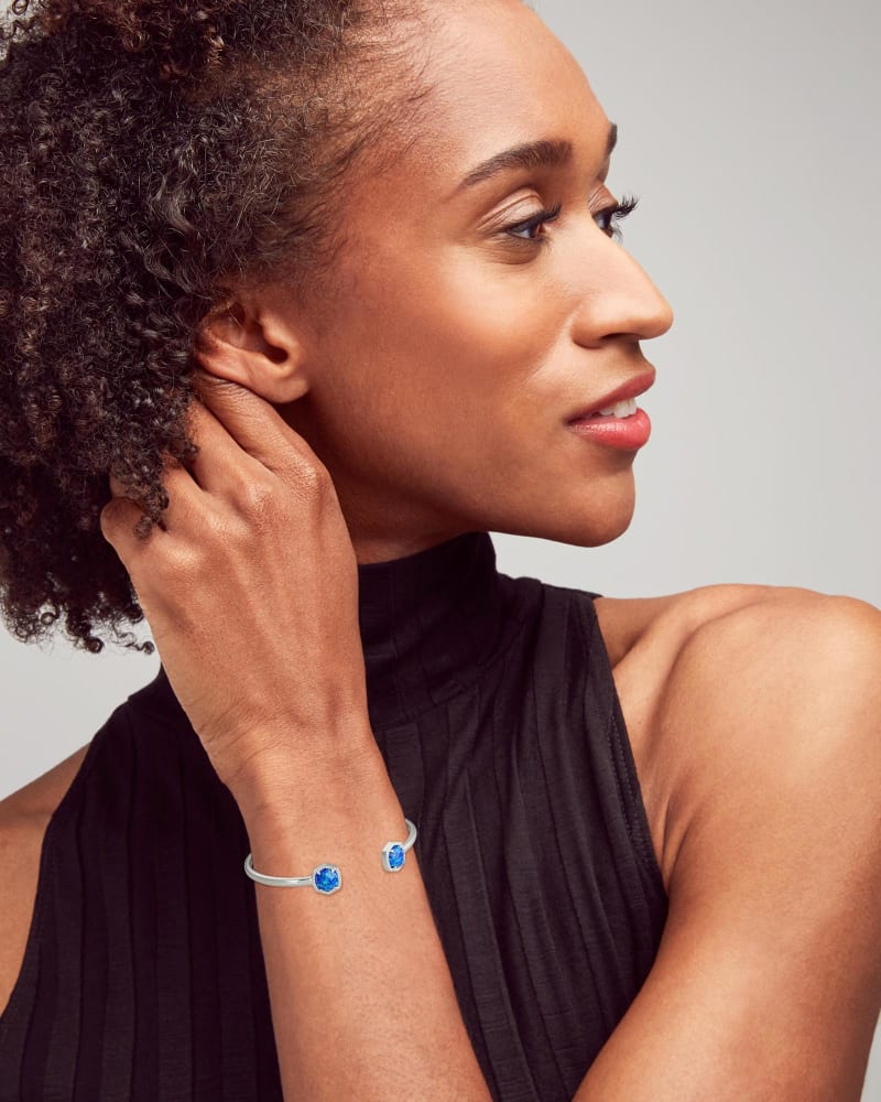 Davie Silver Cuff Bracelet in Royal Blue Kyocera Opal