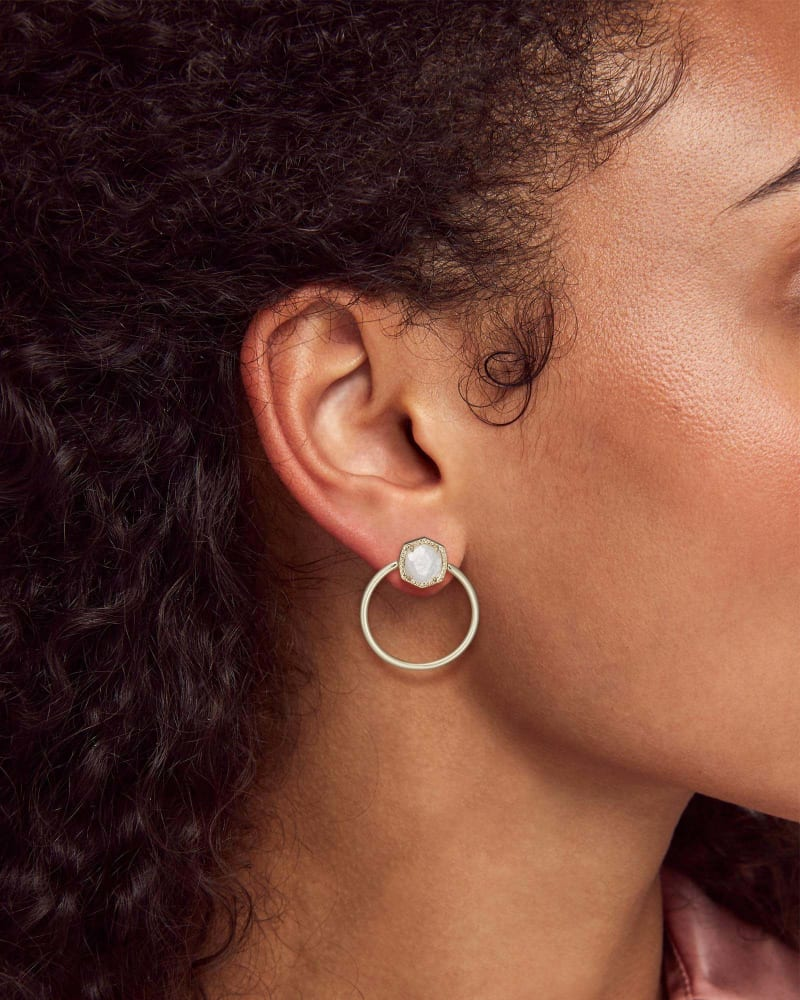 Davie Gold Hoop Earrings in Ivory Mother-of-Pearl